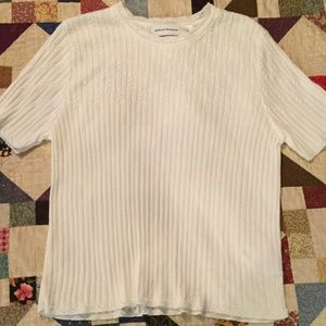 Alfred Dunner XL White Short Sleeved Sweater